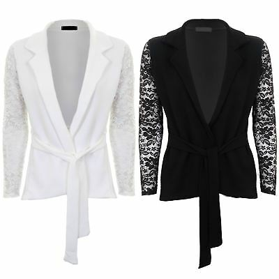 Womens Floral Lace Sleeve Tie Waist Open Front Textured Smart Crinkle Blazer