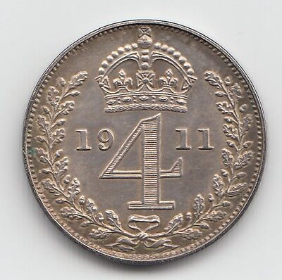 Very Rare George V 1911 Proof Silver Maundy Fourpence 4d