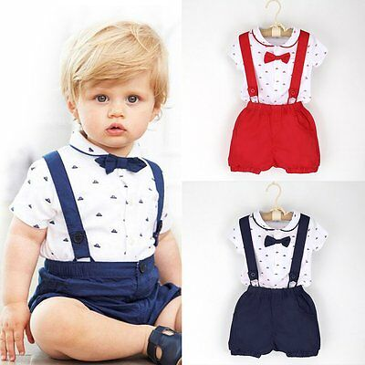 2PCS Kids Baby Boys Romper T-shirt Tops + Bib Pants Overalls Clothes Outfits Set
