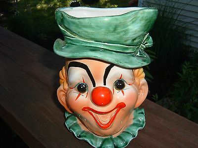 LARGE Vintage LEFTON Smiling CLOWN Head Vase 4498/A with STICKER
