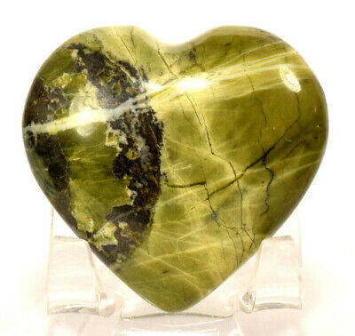 "2"" Natural Green Serpentine Puffy Heart Crystal Mineral Palm Stone - Peru (1PC)"