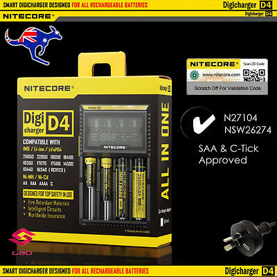 Nitecore D4 Digicharger LCD Smart Battery Charger IMR Li-Ion LiFePO4 NiMH-Cd
