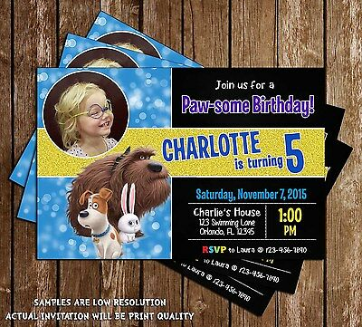 Secret Life of Pets  - Birthday Party Invitations - 15 Printed W/envelopes