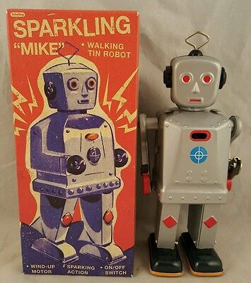 "Schylling Collector Series Sparkling ""mike"" Walking Wind Up Tin Robot Mint"