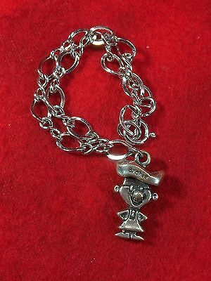 Vintage  Archway Cookies Sterling Silver Archie Charm W/ Sterling Bracelet