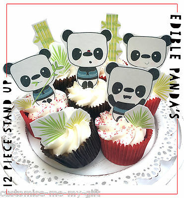 Panda 12 piece Cute Edible Pop Top Cupcake Toppers | Cake | Birthday decorations