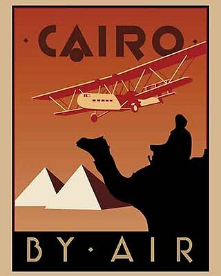 Vintage Antique   Cairo Egypt   Travel Airline  POSTER