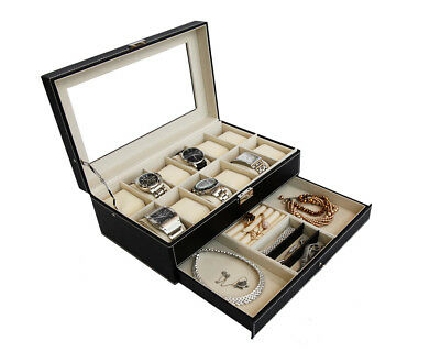 12 Grid Leather Jewellery Box Display Drawer Watch Men Women Lock Slot Organizer