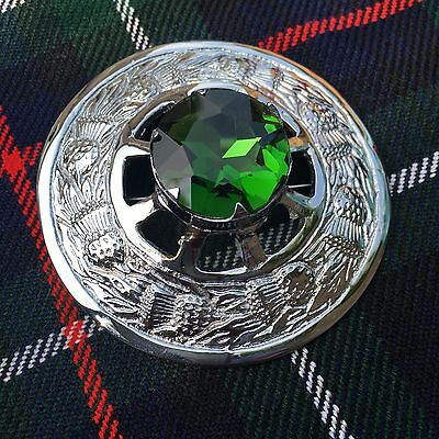 Kilt Fly Plaid Brooch Green Stone/Scottish  Fly Plaid Brooch/Brooches/pins