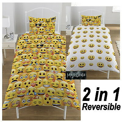 Official Emoji Duvet Cover w Pillowcase Quilt Cover Bedding Set Emoticon Smiley
