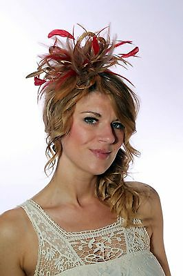 Gold & Red Fascinator Hat/choose any satin/highlight feather colour