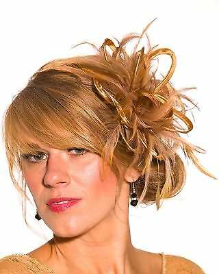 Gold Fascinator Hat/choose any satin/highlight feather colour