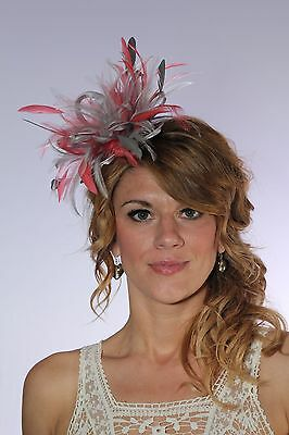 Silver & Coral Pink Fascinator Hat/choose any satin/highlight feather colour