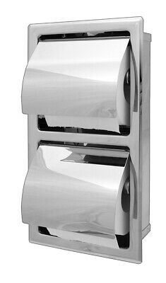 T6608 Ozwashroom Recessed Double Toilet Roll Holder Stainless Steel, Made from #