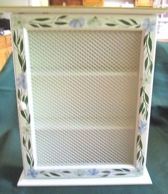 Small wooden wall cabinet handpainted white floral w/ hinged door