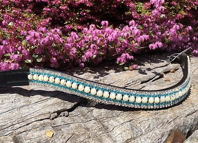 Browband Bling Blue Crystal and White Pearl Brow Band -  Warmblood Full Cob Pony