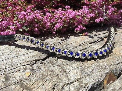 Black Leather Browband Bling Blue and White Crystal Brow Band -  Warmblood Full