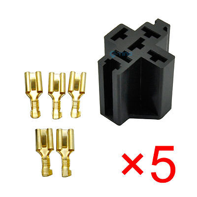 5x 5 Pin Car Truck Relay Socket Connector 12V 30AMP 40AMP 6.3mm Case no Wire ET