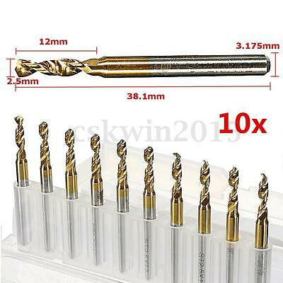 "10pcs 1/8"" 2.5mm Blade Shank Gold Titanium Coated Carbide Drill Bit PCB End Mill"