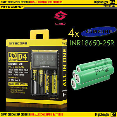 Nitecore D4 Digicharger + 4x Samsung INR 18650 25R 20A High Current Cells