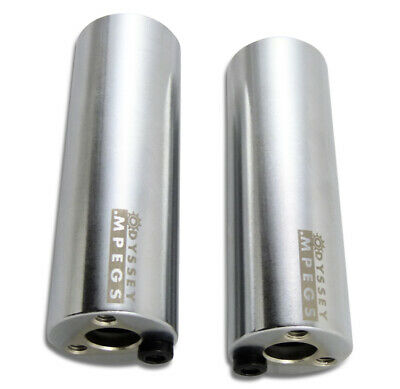 2 x Odyssey MPEGS - Polished Silver Steel BMX Bike Pegs Fits 10mm & 14mm Axles