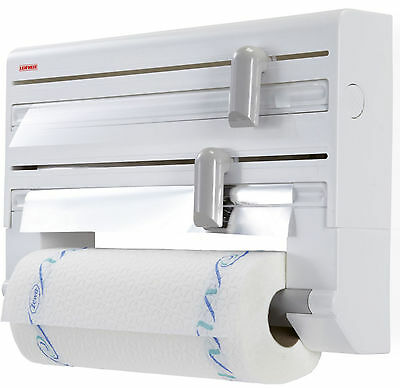 Leifheit Wall Mounted  Kitchen Roll Holder Cling Film & Aluminium Foil Dispenser