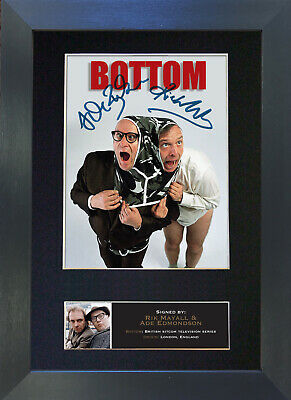 RIK MAYALL AND ADE EDMONDSON bottom Signed Mounted Autograph Photo Prints A4 492