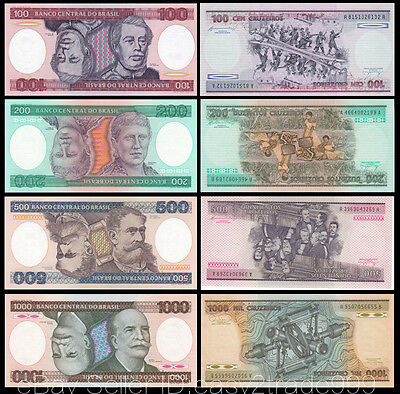 Set of 4Pcs Brazil 100 + 200 + 500 +1000 Cruzeiros,1984~1986,Uncirculated
