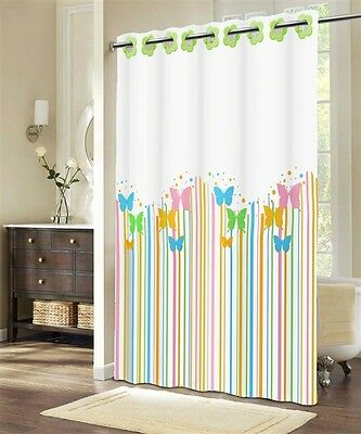 LUXURY Bathroom Shower Curtain FABRIC Polyester 180x200 Colourful Butterflies