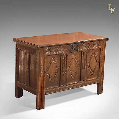 Antique Coffer, 17th Century Oak Panel Chest, English Trunk, c.1700