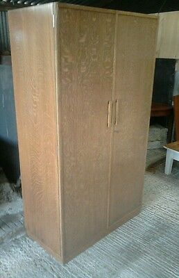 A Charming Frederick Restall Ltd Solid Oak Wardrobe With Glass Top And Shelf