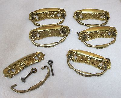 Lot of 6 Older Pressed Brass Drawer Pulls Handles Bright Gold Tone T63