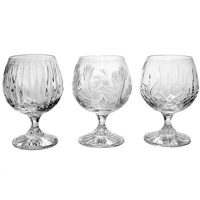 Cut Crystal Brandy Cognac Glass Set 6 Glasses various