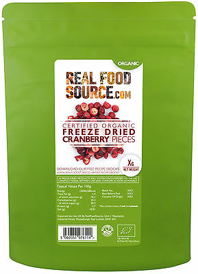 RealFoodSource Certified Organic Freeze Dried Cranberry Pieces