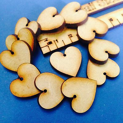 2cm/20mm Wooden Valentines Love Hearts With Holes MDF Arts Craft Decor Laser Cut