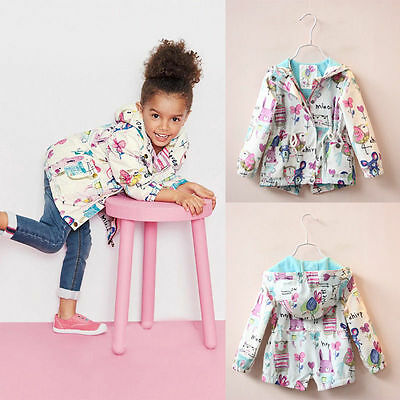 Kids Girls Graffiti Animal Print Hooded Hoodie Wind Jacket Coat Outwear Pullover