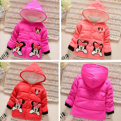 Kids Girls Toddler Baby Cartoon Winter Hooded Hoodies Coat Jacket Jumper Outwear