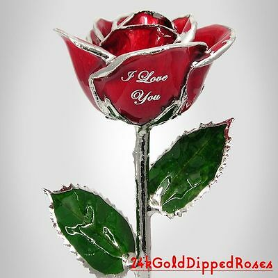 Platinum Dipped I Love You Red Real Rose (Free Christmas Gift Box)