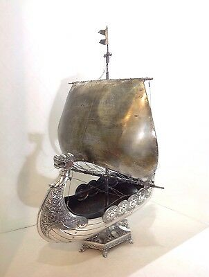"monumental WMF Viking ship centerpiece. Antique Germany. 17"" Long. 25"" High"