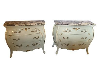 Pair Of Paint Decorated Marble Top Chests 101-2461