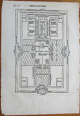 Incunable Leaf Schedel Liber Chronicorum Large Woodcut The Temple - 1493