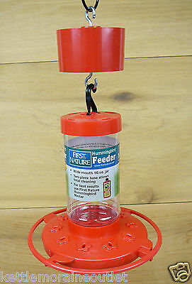 First Nature 16oz Red Hummingbird Feeder #3051 10 Ports w/ Red Trap-It Ant Moat