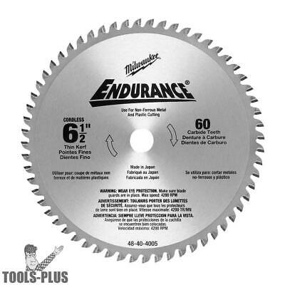 "Milwaukee Circular Saw Blade 6-1/2"" 60 Carbide Teeth 48-40-4005 New"