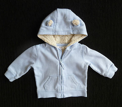 Baby clothes BOY 3-6m F&F light blue zip jacket fleece-lined hood/ears SEE SHOP!
