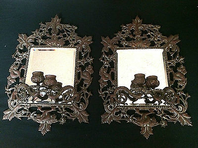 2 Superb Antique Bronze Hand Beveled Mirror Candle Sconce Dolphin Double Arm