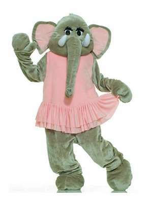 Elephant Mascot Costume 4 Piece Gray & Pink Faux Fur Jumpsuit Head & Feet Lg/Xl