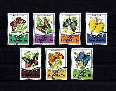 Grenada - 1975 - Butterflies - Insect - Butterfly - 7 X Cto - Nh Set!