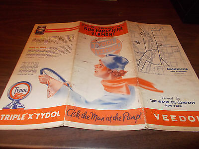 1935 Tydol/Veedol New Hampshire/Vermont Vintage Road Map / Nice Graphics !!