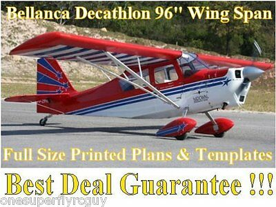 "Decathlon 96"" WS Giant Scale RC Airplane Full Size PRINTED Plans & Templates"