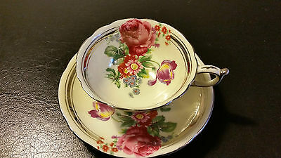 Paragon Tea Cup Large Red Rose With Floral Bouquet Ivory Cup Double Warrant